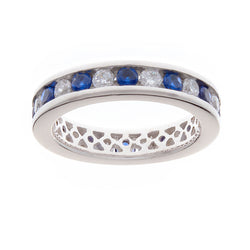 Sapphire & White Cubic Zirconia Eternity Ring