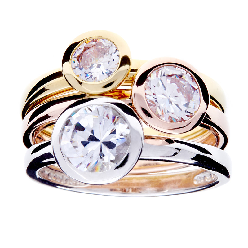 Tara Tri Coloured Cubic Zirconia Ring
