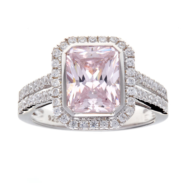 Adele Pink Cubic Zirconia Silver Ring