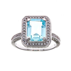 Princess Blue Mirco Pave Ring
