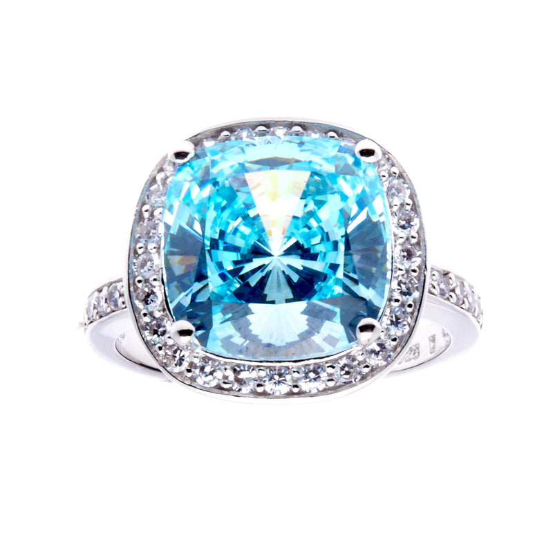 Blue Topaz & CZ Dress Ring