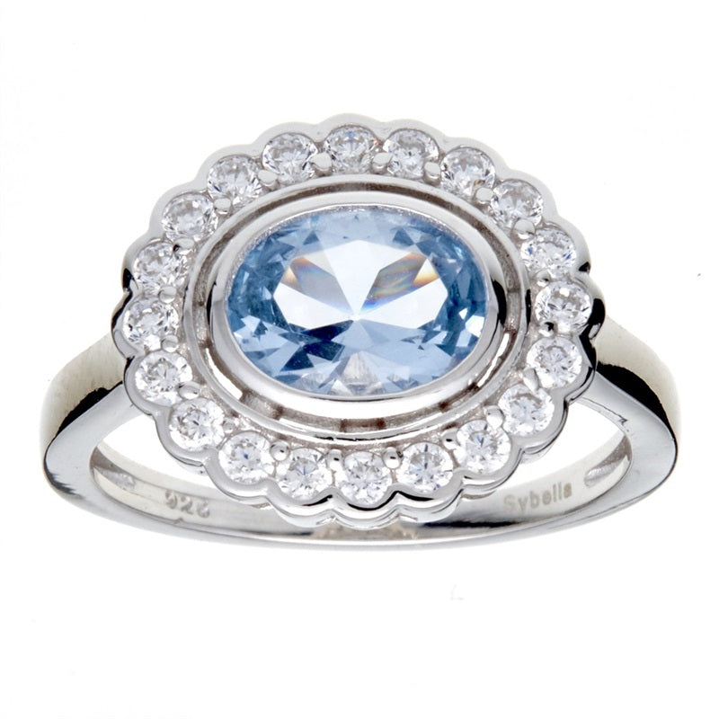 Elizabeth Oval Blue Cubic Zirconia Ring