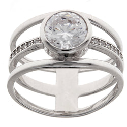 Rhodium CZ Dress Ring