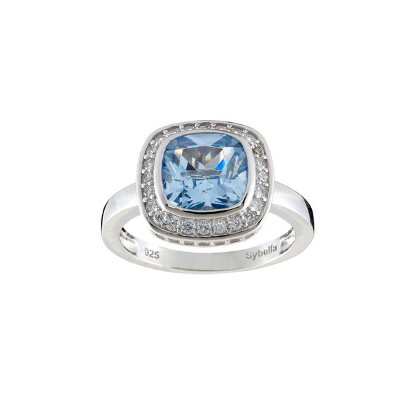 Phoebe Blue & White Cubic Zirconia Silver Ring