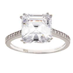 Asscher Cut Silver Ring