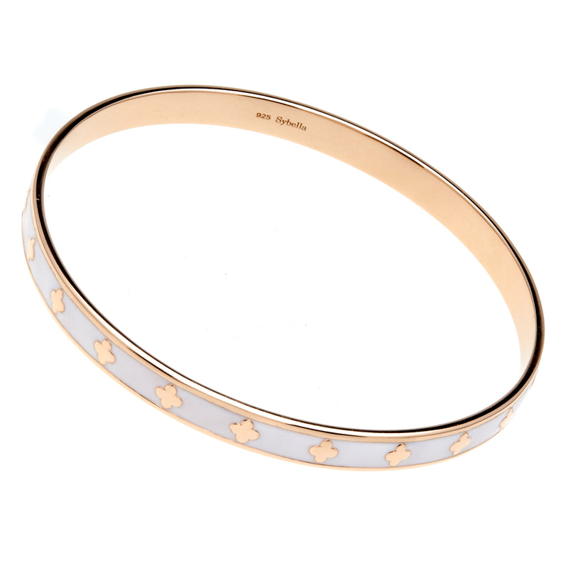 Flower White Enamel & Gold Bangle