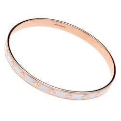 Flower White Enamel & Rose Gold Bangle