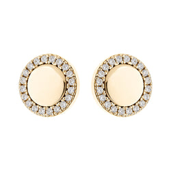 Round Disc Gold Stud Earrings
