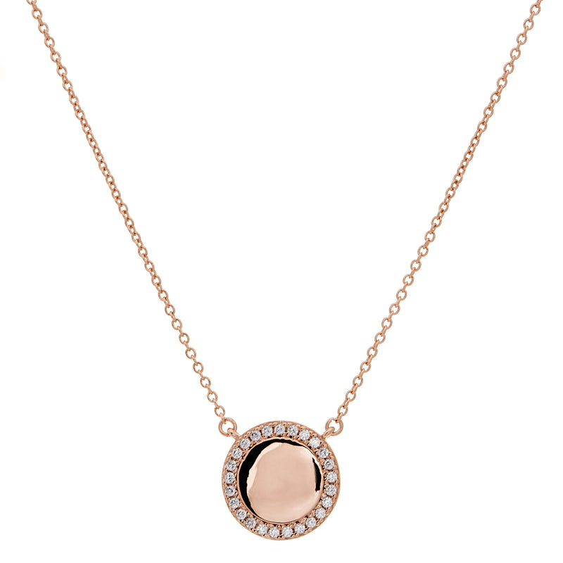 Round Rose Gold Disc Necklace on Fine Chain