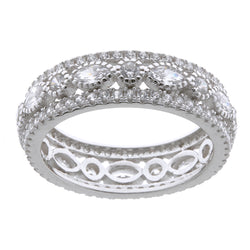 Marquise Rhodium & CZ band Ring