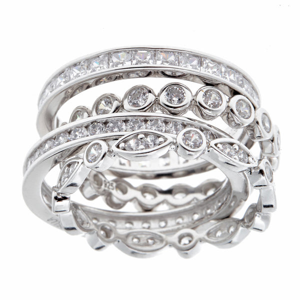 Madonna 4-Stack Silver Ring