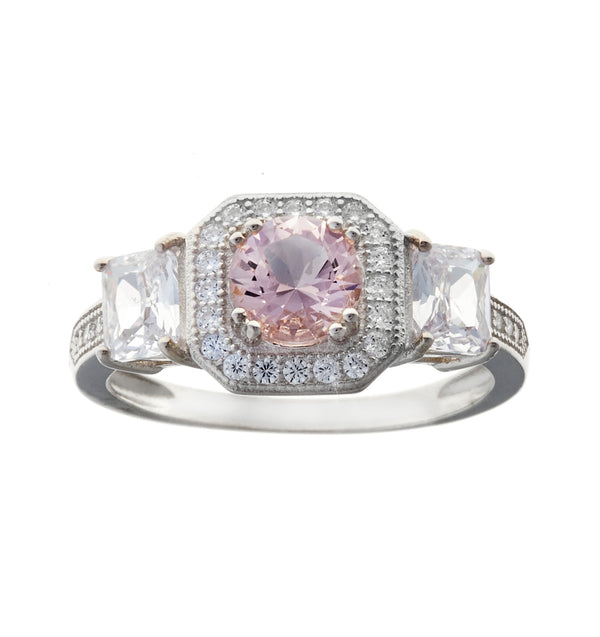 Amelie Pink & Clear Rhodium Ring