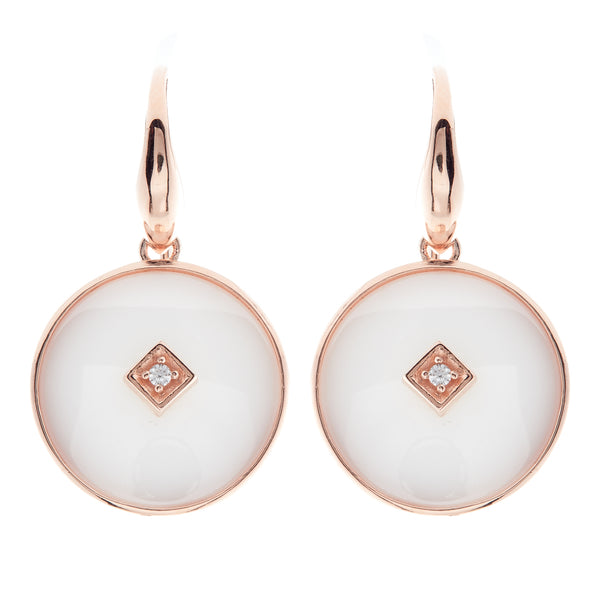 Poppy Rose Gold & White Earrings
