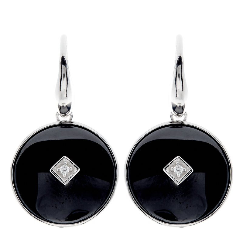 Poppy Silver & Black Earrings