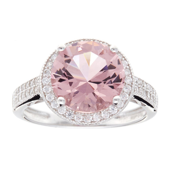 Valentine Pink Cubic Zirconia Silver Ring