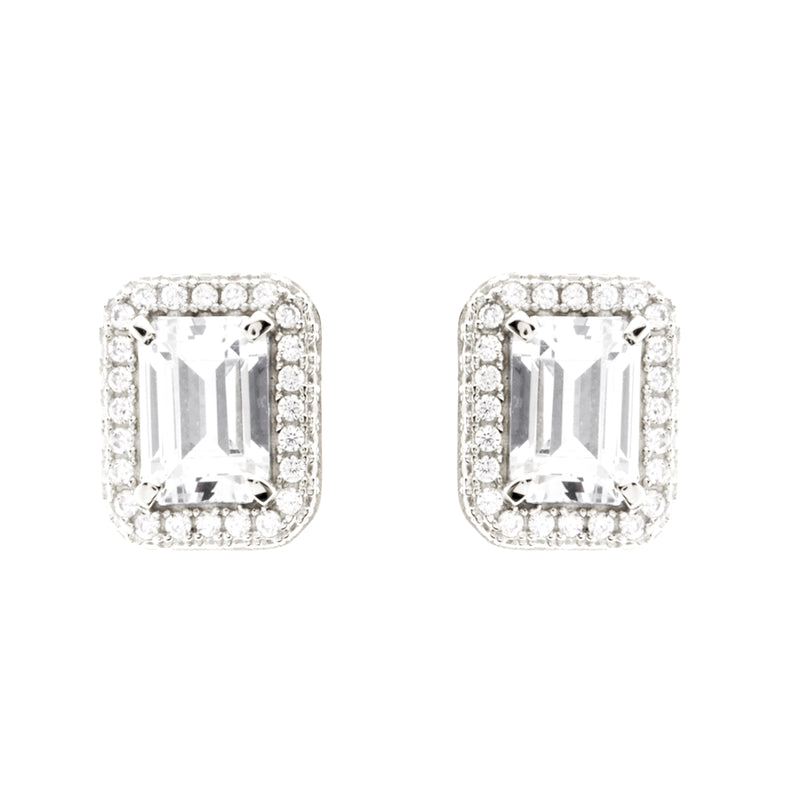 Emerald Cut Silver Stud Earrings