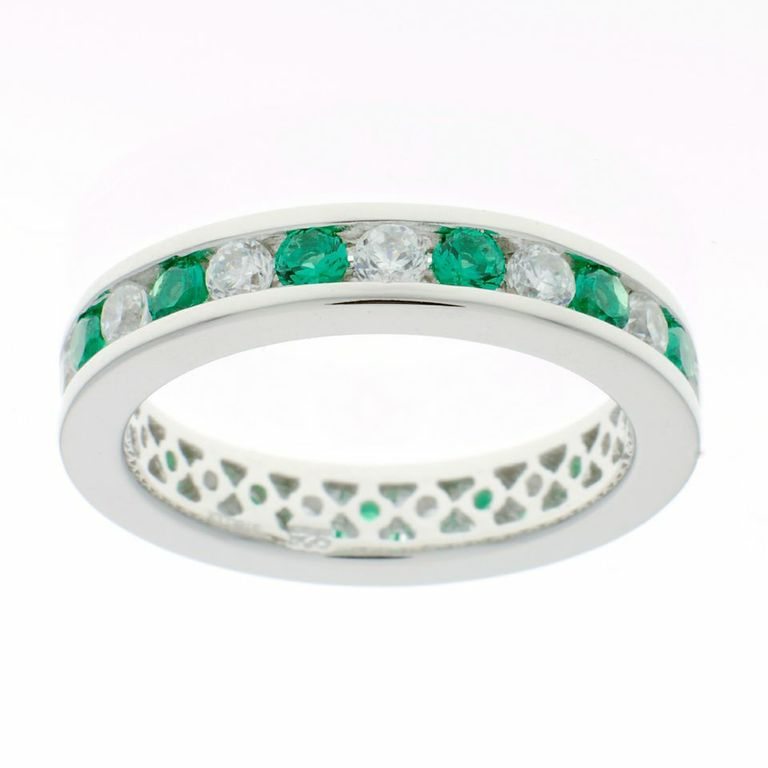 Green & White Cubic Zirconia Eternity Ring