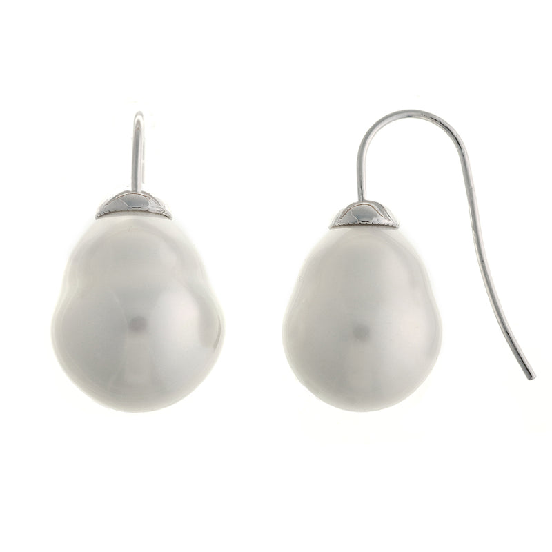 Classic Baroque White Pearl Hook Earrings
