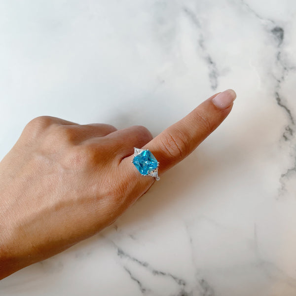 Aqua Square Dress Ring
