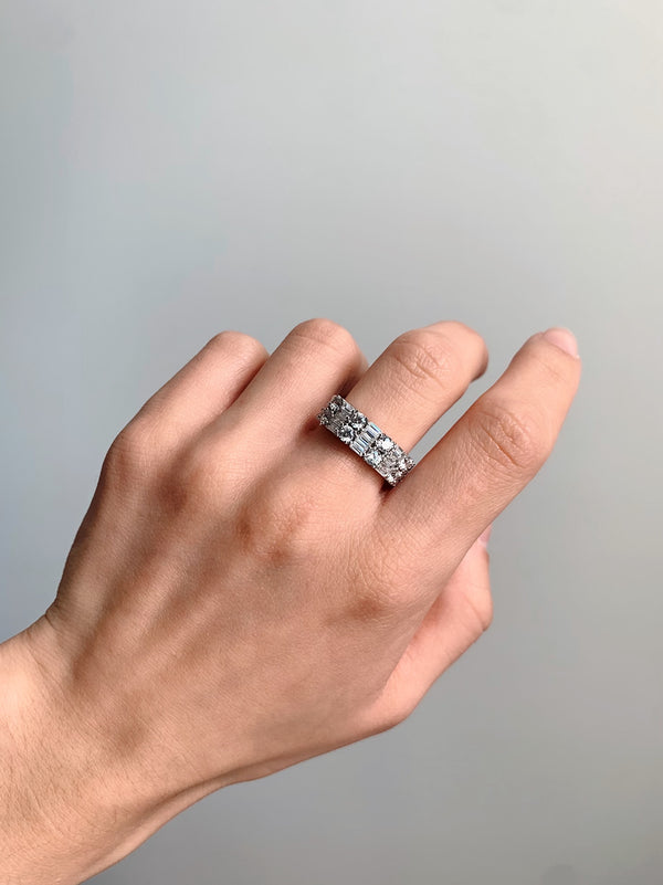 Amore Double Row Silver Ring