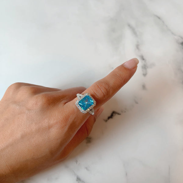 Aqua Rectangle Dress Ring
