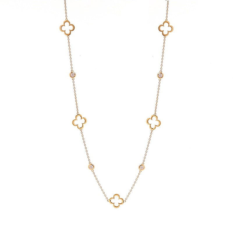Long Hollow Flower Rose Gold Necklace