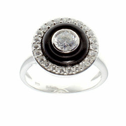 Black & Clear CZ Dress Ring
