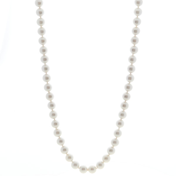 Classic Round White Pearl Long Necklace