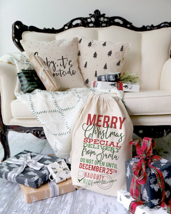 Baby Its Cold Outside Cotton Canvas Christmas Holiday Pillow Cover - Innovatefy
