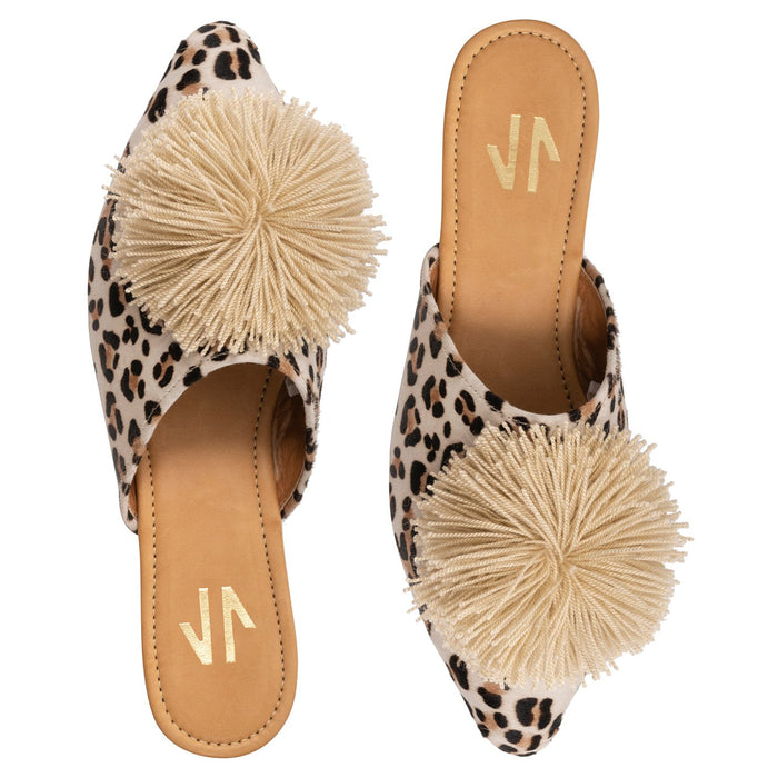 Embroidered Flat Mules Printed w/ Pompom