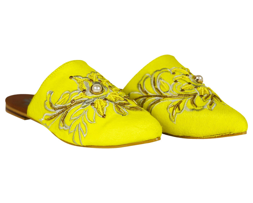 Embroidered Flat Mules Yellow