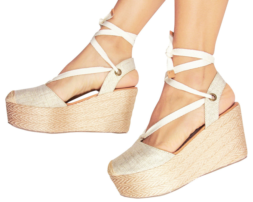 Espadrilles Sandals Lace Up Beige