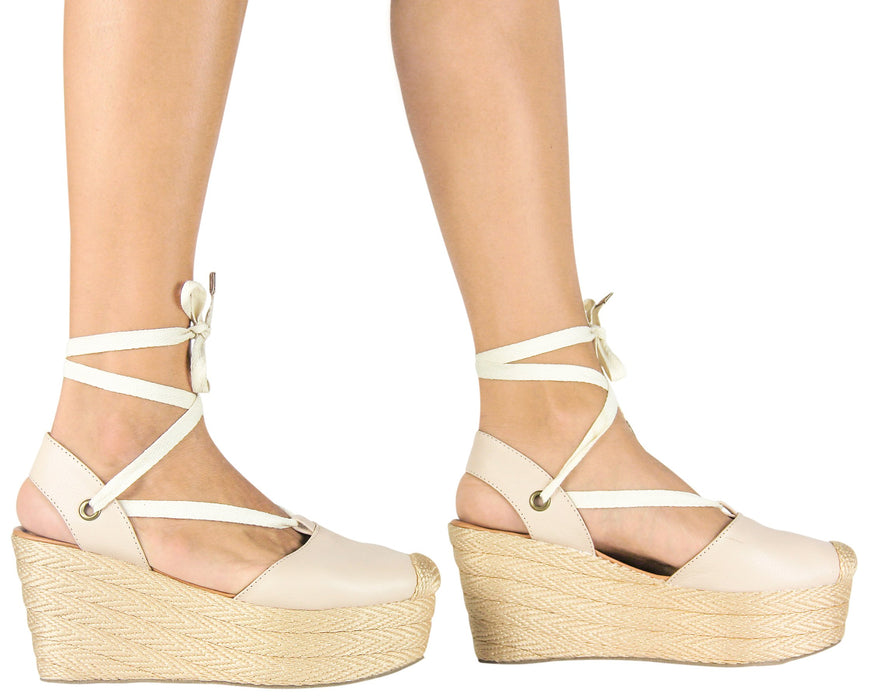 Espadrille Sandals Lace Up Leather Nude