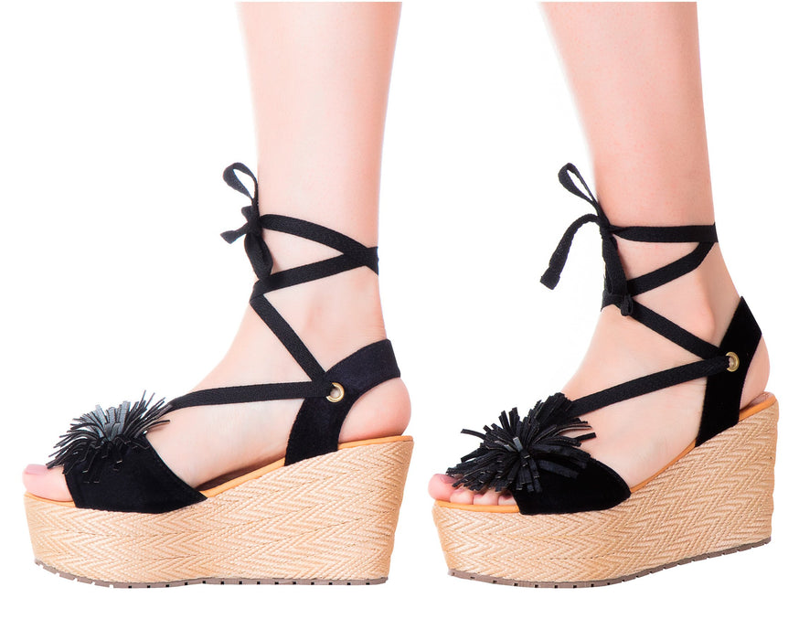 Espadrille Sandals PomPom Lace Up Black