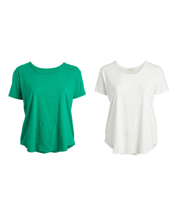 Urban Diction Green and White Round-Hem Scoop Neck Top - Plus