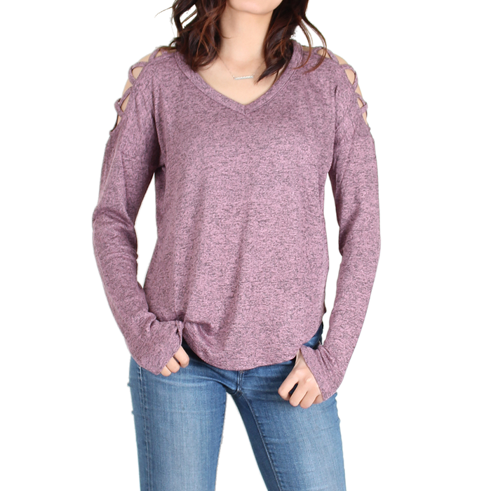 Urban Diction Mauve Crisscross-Shoulder Cutout Sweater
