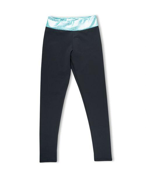 ACTIVE BLACK LEGGINGS WITH SPARKLY MARINE WAIST - Innovatefy