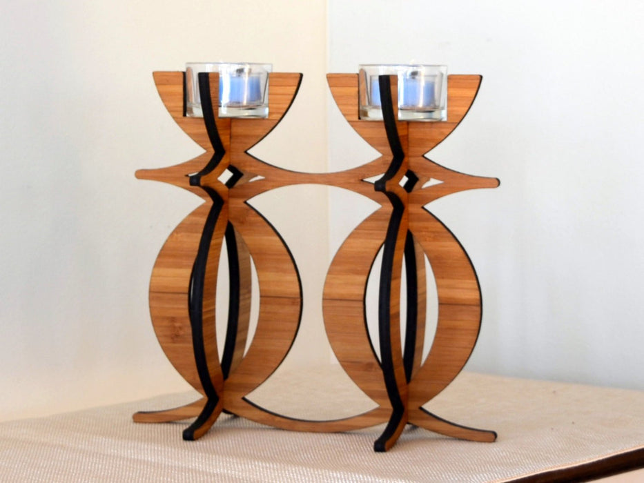 Solstice Candelabra Tea Light Holder in eco-friendly bamboo - Innovatefy
