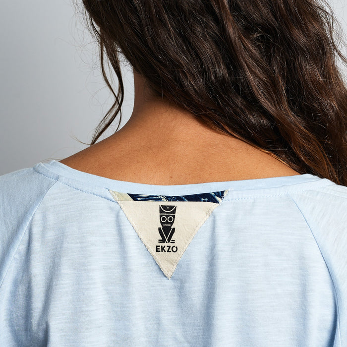 V- Neck Tee Wax Patch - Soft Blue
