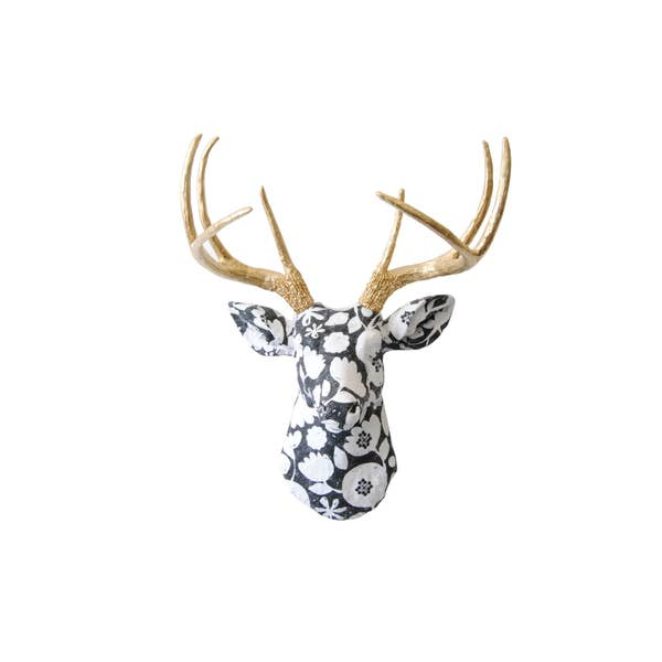 Faux Black and White Flower Pattern Deer With Gold Antlers - Innovatefy