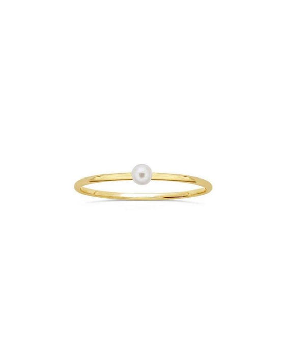 Solitary Pearl Gold Ring - White