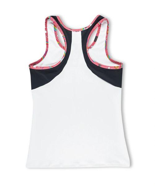 WHITE ACTIVE TANK WITH MESH RACER BACK AND PUGICORN TRIM - Innovatefy