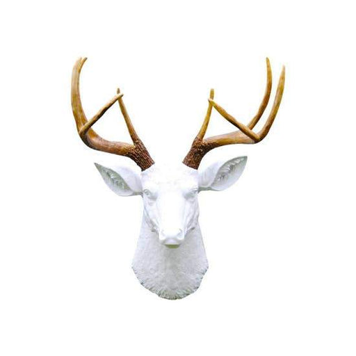 Faux White Deer Head and Brown Antlers - Innovatefy