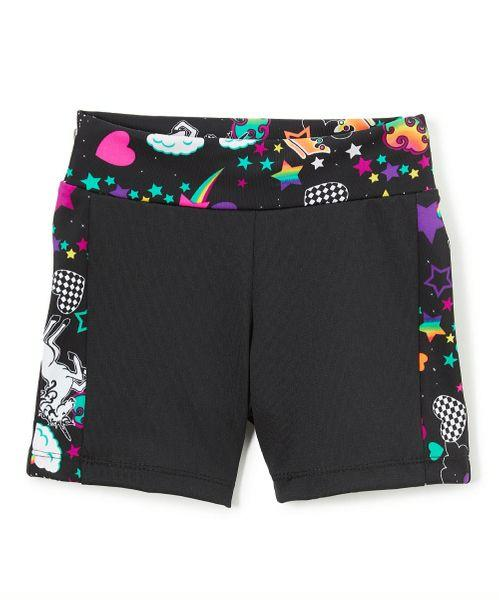 UNICORN BIKESHORT BLACK WITH UNICORN WAIST AND SIDE STRIPE - Innovatefy