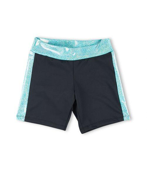 ACTIVE BLACK BIKESHORT WITH SPARKLY MARINE METALLIC - Innovatefy