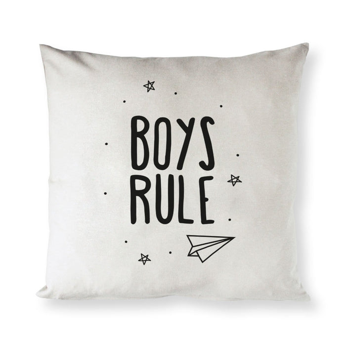 Boys Rule Baby Cotton Canvas Pillow Cover - Innovatefy