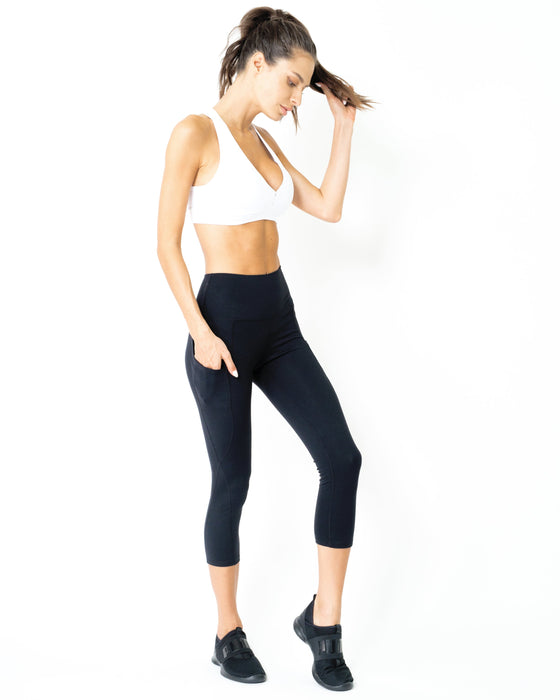 Jolie High-Waisted Capri Leggings With Hip Pockets - Innovatefy