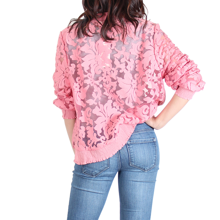 Urban Diction Pink Floral Lace Jacket