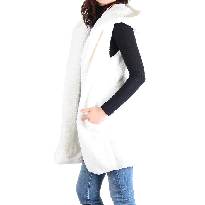 Ivory Sherpa Open Front Hooded Sleeveless Vest