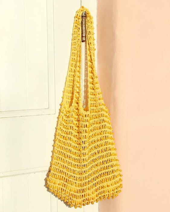 Karma Wooden Beads Crochet Bag in Pale Yellow - Innovatefy